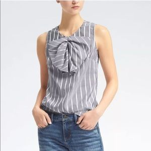 🆕 Banana Republic Striped Pleated Bow Top